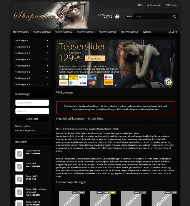Gambio GX3 responsives Template - clean Onlineshop Style